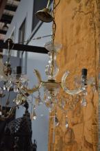 Vintage three light crystal chandelier