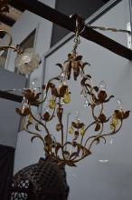 Modern metal leaf & flower eight light chandelier