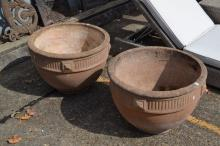 Large pair of composite stone garden urns, fluted decoration, approx 46cm H x 66cm dia (2)