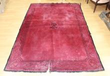 Mussolini red ground carpet, with fascist symbols