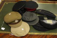 Nice lot of eight caps include: 1) Australian regal NSW regiment ii) East German iii) West German black beret with badge iv) Australian black beret, v) French? Khaki beret vi) Soviet peaked cap with badge vii) Soviet Naval cap viii) Side cap with badge