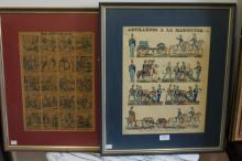 Antique framed French Artillery lithograph coloured, along with a Madame Angot No 1208 plate (2) artillery, approx 41 cm x 32 cm