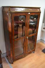 Fine antique 19th century four glazed shaped edge panelled front bookcase / vitrine, with gilt bronze mounts, canted sides and quarter veneered panelled sides, approx 148 cm H x 93 cm W