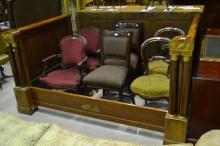 Impressive French Empire style bed, approx 107cm H x 205cm L x 137cm W