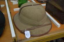 Vintage Pith helmet / hat, brown leather trim