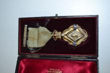 Antique Masonic Jewel medal for Queen Victoria's diamond jubilee, with detailed enamelled crown and stone set borders, in the original presentation box. marked Spencers, 1897, London.