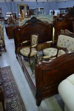 Impressive antique French Louis XV style bed, approx 142cm H x 200cm L x 142cm W