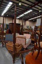 Impressive antique style hard wood carved four poster bed with canopy, approx 273cm H x 233cm L x 200cm W