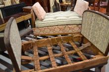 Day bed with floral upholstery along with another for restoration, approx 69cm H x 163cm L x 66cm D and smaller (2)