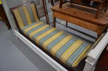Antique French Empire mahogany day bed, recliner, approx 190cm L