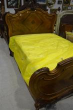 Antique French Louis XV walnut double bed, with as new fitted mattress and pine cross members, approx 162cm H x 220cm L x 158cm W
