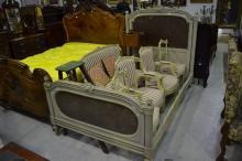 Antique French Louis XVI style painted & cane bed, approx 145cm H x 210cm L x 128cm W