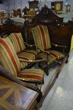 Antique French Louis VX style rosewood double bed, approx 172cm H x 200cm L x 172cm W