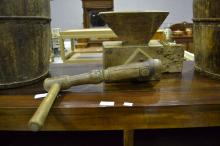 Antique French fruitwood Grinder impressed makers mark, approx 25cm H x 55cm W