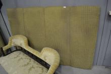 Upholstered double bed head, approx 130cm H x 196cm W