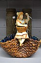 Antique French Faience figural pottery basket, 26
