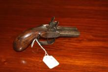 Antique Percussion double barrel pocket pistol of about .45 cal., approx 18cm L