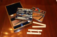 Fine well appointed antique 19th century cased drawing set, turned ivory mounts, two lift out trays revealing compartments with ivory rules, sealing wax, etc