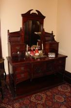 Antique walnut dressing table, fitted with a central mirror, two banks of drawers above, drawers and doors below with pot board, approx 108cm H x 137cm W x 58cm D
