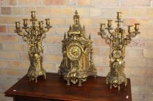 Impressive Antique French mantle clock and garnitures, has key and pendulum, approx 60cm H (3)