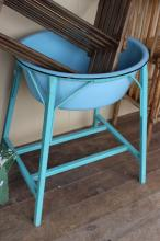 Vintage blue painted cane and wood baby bath stand with original pale blue bath, approx 70cm H