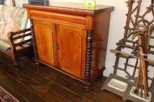 Antique Australian cedar bookcase base, approx 103cm H x 109cm W x 50cm D