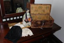 Antique 19th century peg doll with selling tray and various dresses, Saratoga design trunk, doll approx 30cm H