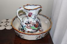 Antique Masons jug and basin, jug approx 28cm H