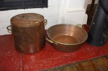 Antique preserving pan along with an antique heavy gauge lidded twin handled pot