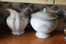 Antique Cream china ewer along with a Antique lidded enamel tureen (2)