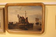 Antique 19th century French oil on canvas of a port scene, signed Charles Goys ?, in original gilt rounded edged frame, approx 75cm x 98cm