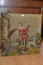 Victorian needlework of a falconer with his falcon on a perch in a landscape (unframed)