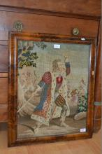 Victorian needlework depicting Victorian actor Edmund Kean (1787-1833) as Richard iii, his most celebrated role.