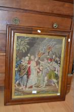 Victorian needlework of Jesus in the garden of Gethsemane in original Birdseye maple frame