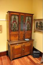 Vintage faux painted two height dresser with reverse painted glass doors, approx  215cm H x 51cm D x 130cm W