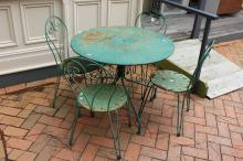 French green painted five piece garden table and chairs (5)