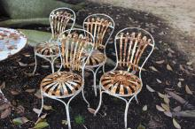 Four antique French spring metal garden chairs (4)