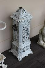 Antique French enamel pedestal stove with bronze carry handles, approx 75cm H