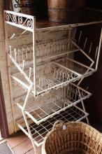 Metal kitchen plate draining rack, approx 137cm H x 45cm D x 82cm W