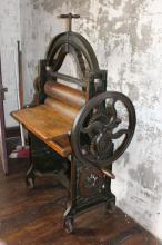 The Pearl - Antique 19th century cast iron and wood mangle, approx 156cm H