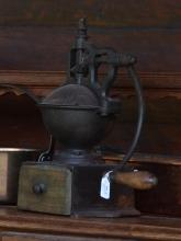 Antique Peugeot iron and wood coffee grinder