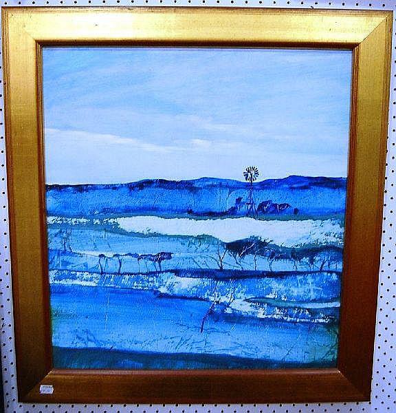Diana Johnson, landscape, oil wash on board, see
