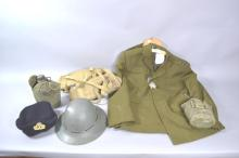 Selection of Military uniforms and webbing, water bottles etc, metal helmet