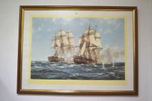 Very large framed coloured print of