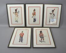 Five framed military prints (5)