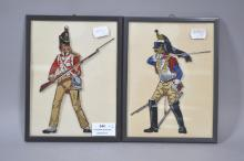 Two small framed etched and painted glass portraits of Napoleonic era soldiers (2)