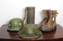 Pair of as new French Arm boots, lace ups with double belt tops, unused, German type helmet with white stars, gas mask and tin canister, English metal helmet with camouflage net,