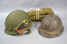Assortment, US helmet with netting and tin cigarette case, WWI French helmet, WWII blanket (3)