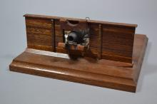 Scale model of a ship's carronade incorporating deck, gun mounts etc