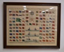 French Naval signal flag chart, hand coloured engraving